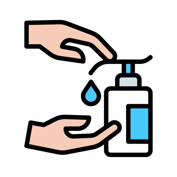 洗手或與衛生有關的酒精消毒器瓶手按按鈕和消毒滴在手載體與可編輯中風, - 疫病預防 幅插畫檔、美工圖案、卡通及圖標