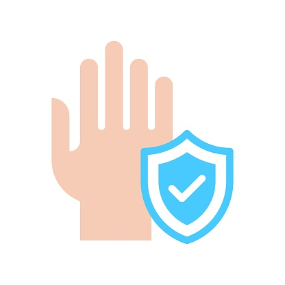 wash hand or hygiene related hand with protection shield badge and tick mark on shield vector in flat style,