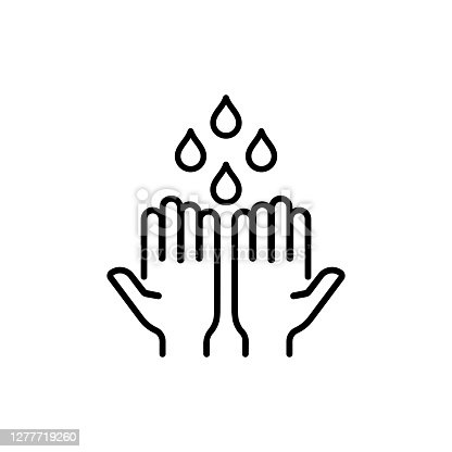 Wash hands icon in black. Vector on isolated white background. EPS 10.