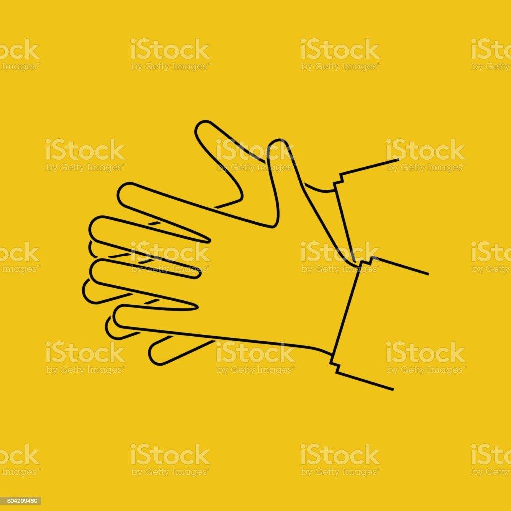 Wash hands. Silhouette black icon. vector art illustration