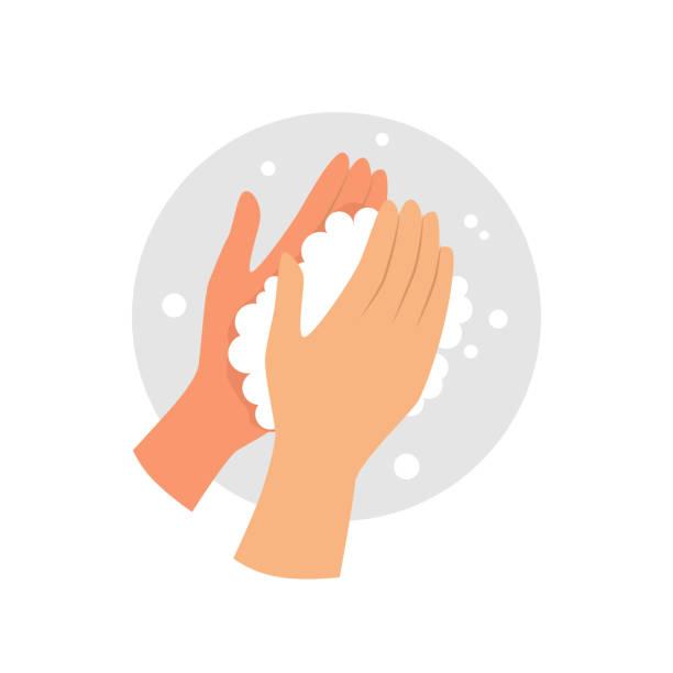 ilustrações, clipart, desenhos animados e ícones de lave o ícone vetor das mãos. - washing hands