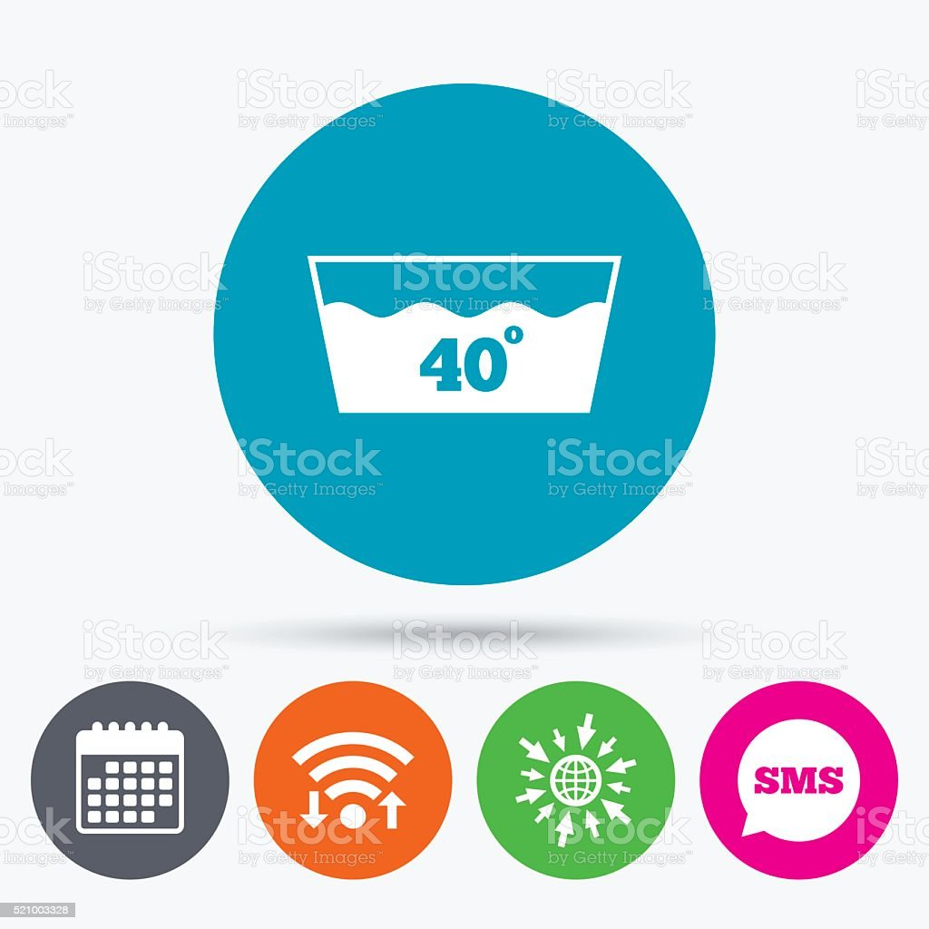 Wash Icon Machine Washable At 40 Degrees Symbol Stock Vector Art