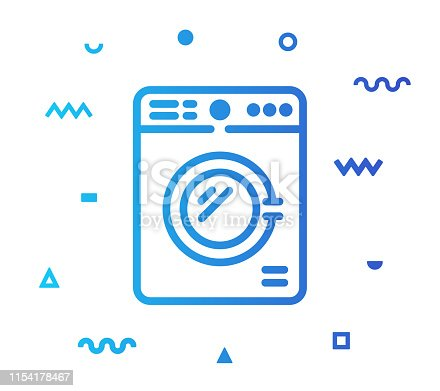 Wash laundry outline style icon design with decorations and gradient color. Line vector icon illustration for modern infographics, mobile and web designs.