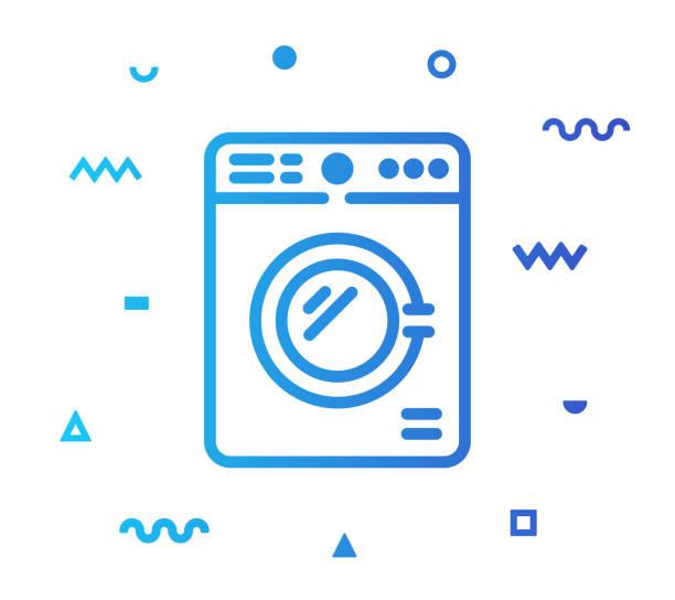 waschen wäscherei line style icon design - waschküchendekorationen stock-grafiken, -clipart, -cartoons und -symbole