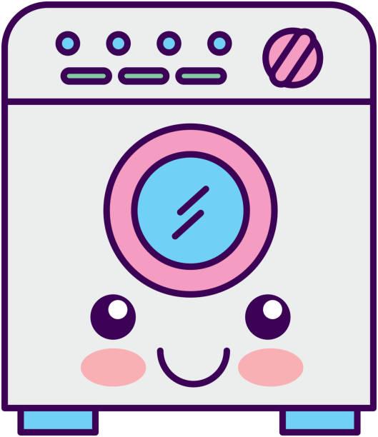 洗浄機かわいい文字 - 楽しい 洗濯点のイラスト素材/クリップアート素材/マンガ素材/アイコン素材