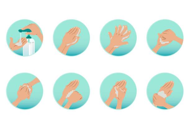 Wash your hands and use alcohol to sanitize Cuidados com higiene limpando as mãos rubbing alcohol stock illustrations