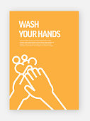 Wash Your Hands Concept Template Layout Design. Modern Brochure, Book Cover, Flyer Design Template