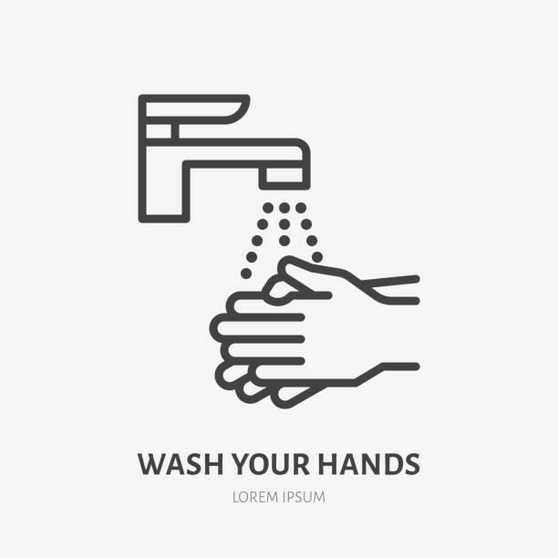 bildbanksillustrationer, clip art samt tecknat material och ikoner med tvätta händerna linje ikon, vektor piktogram av personlig hygien. sjukdomsprevention, handdesinfektion illustration, skylt för offentliga toalett varningsaffisch - washing hands