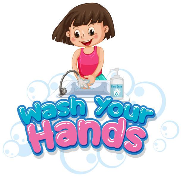 Waschen Sie Ihre Hände Poster-Design mit Mädchen waschen Hände – Vektorgrafik