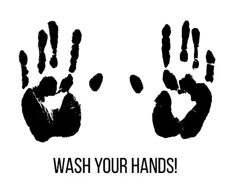 Wash your hands, print of human hands illustration