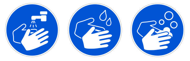 Wash your hands sign. Simple white drawing with water tap, drops and soaps in blue circle. Can be used during coronavirus covid-19 outbreak prevention vector art illustration