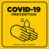 Wash your hands warning sign. Warning in a yellow sign about coronavirus or covid-19 prevention vector illustration