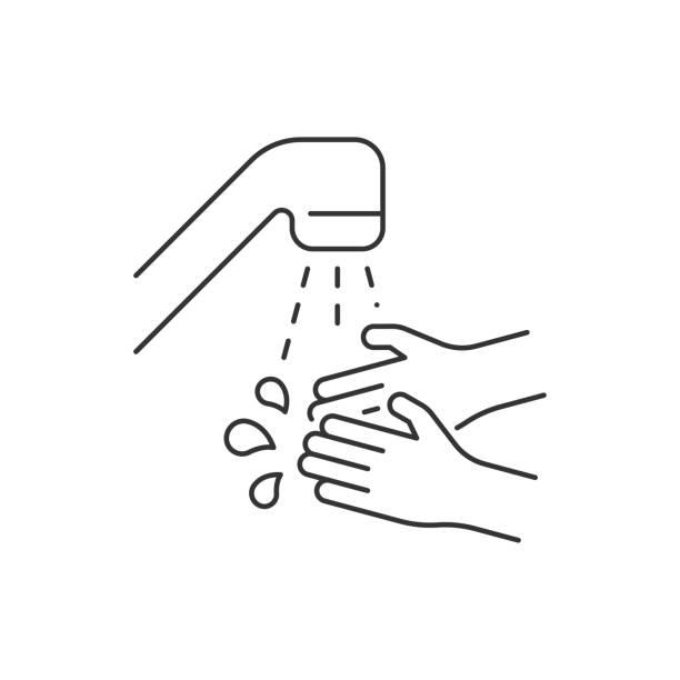 用水線圖示洗手向量藝術插圖