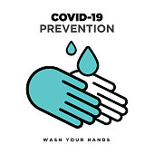 Wash your hands. Wuhan coronavirus outbreak influenza as dangerous flu strain cases as a pandemic concept banner flat style illustration stock illustration