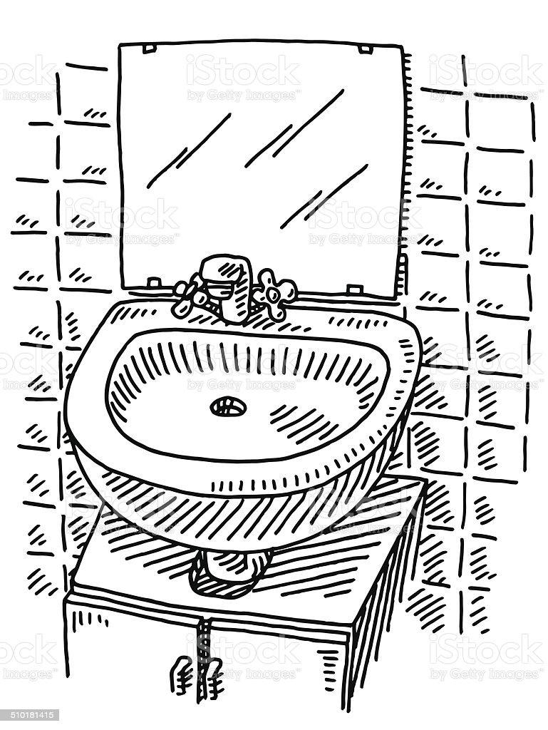 lavabo dessin au miroir de la salle de bains cliparts vectoriels et plus d 39 images de. Black Bedroom Furniture Sets. Home Design Ideas