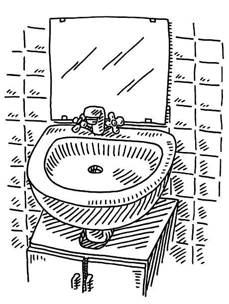 doppelwaschbecken spiegel badezimmer zeichnen - spiegelfliesen stock-grafiken, -clipart, -cartoons und -symbole
