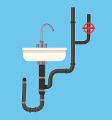 Washbasin with pipes. Vector flat cartoon illustration