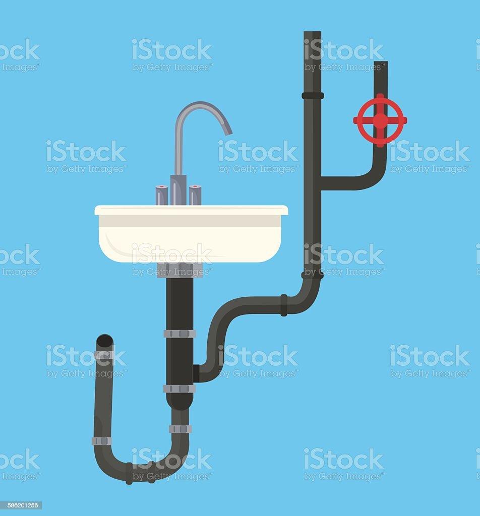 Washbasin with pipes. Vector flat cartoon illustration vector art illustration