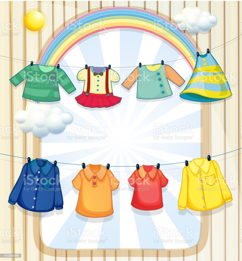 Washed clothes hanging under heat of the sun royalty-free stock vector art