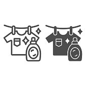 Washed T-shirt and bottle line and solid icon, Household concept, Stain remover bottle with hanging cloth sign on white background, clothes cleaning and washing symbol outline style. Vector graphics.