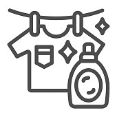 Washed T-shirt and bottle line icon, Household concept, Stain remover bottle with hanging cloth sign on white background, clothes cleaning and washing symbol outline style. Vector graphics.