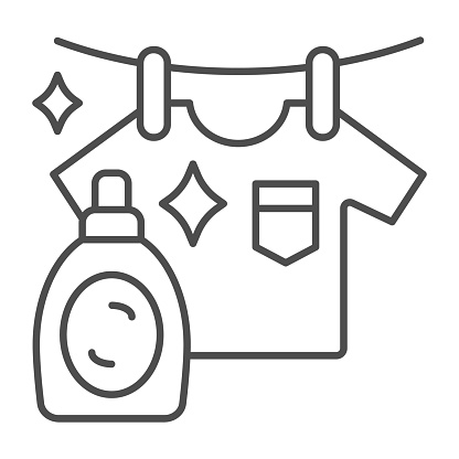 Washed T-shirt and bottle thin line icon, Household concept, Stain remover bottle with hanging cloth sign on white background, clothes cleaning and washing symbol outline style. Vector graphics.