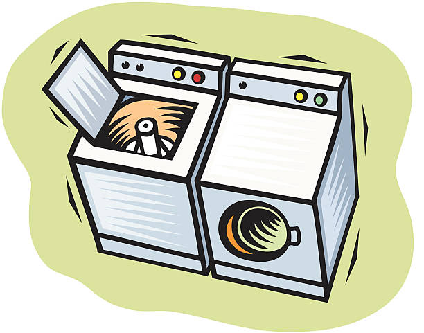 Washer and Dryer vector art illustration