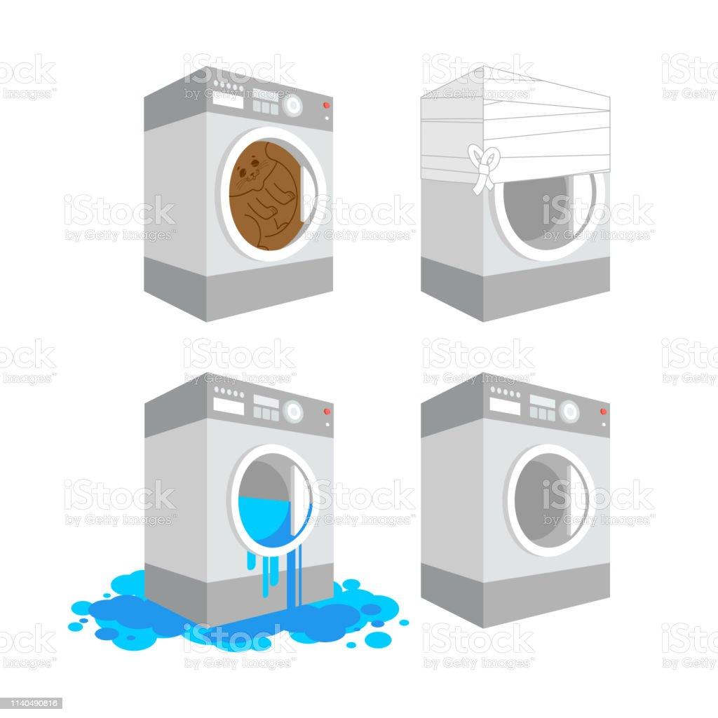 Washing Machine Leaking >> Washer Set Cat In Washing Machine Leaking Cartoon Style Bandaged