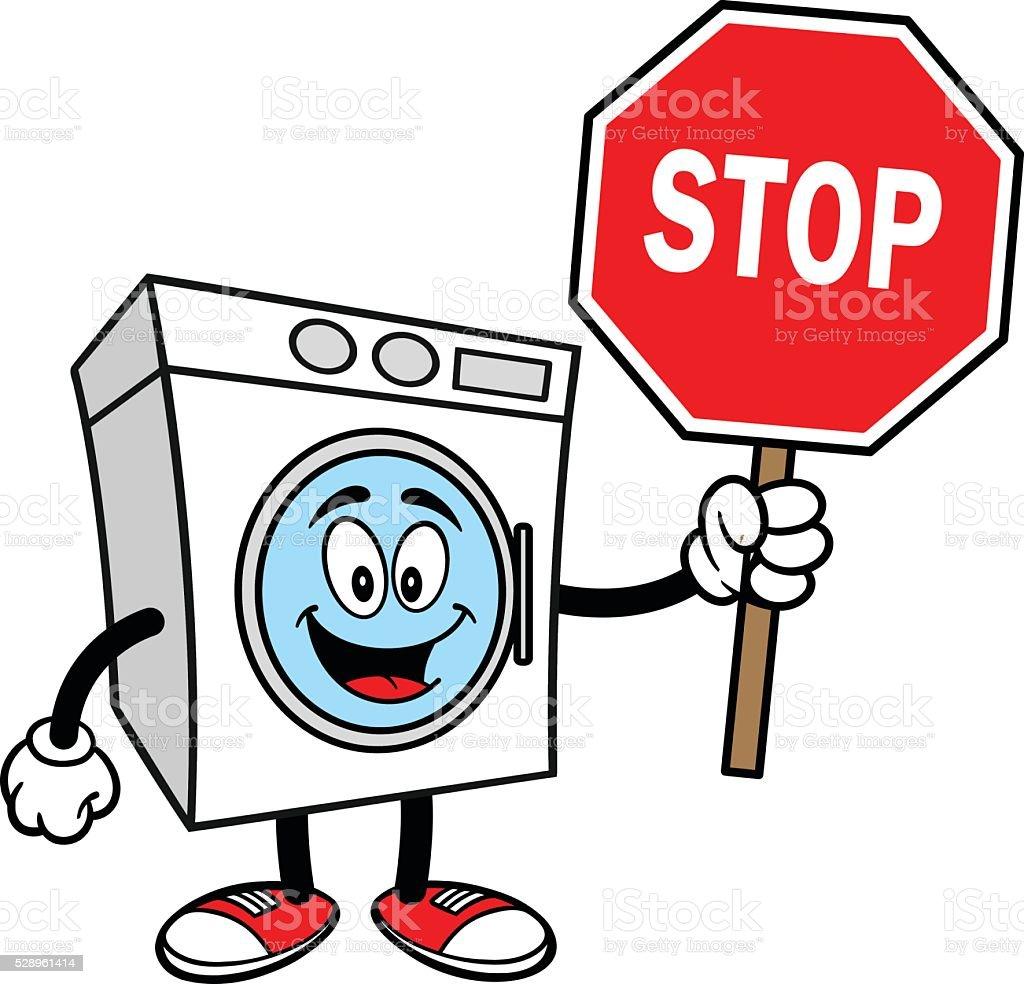waschmaschine mit eine stopschild stock vektor art und mehr bilder von achteck 528961414 istock. Black Bedroom Furniture Sets. Home Design Ideas