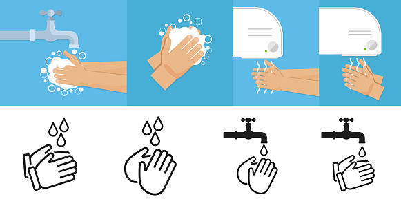 Washes hands and drying hands. Vector illustration