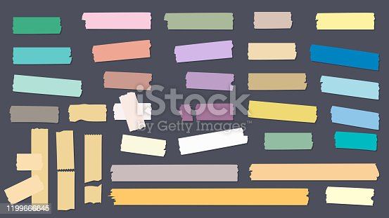Washi colored tapes. Scrapbook decorative sticky adhesive strip papers vector collection. Illustration tape adhesive sticky, scrapbook paper sticker