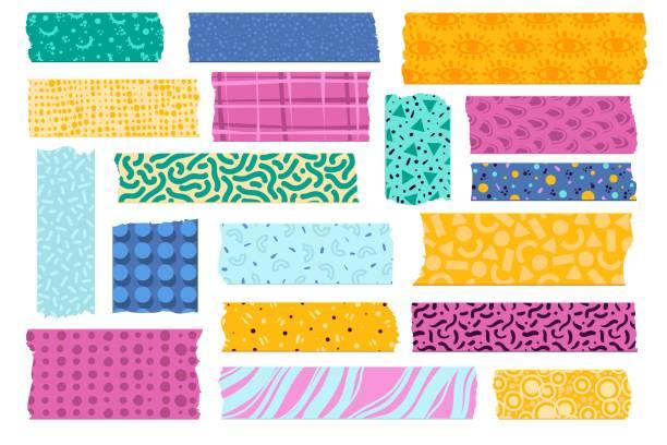 ilustrações de stock, clip art, desenhos animados e ícones de washi tape. paper tapes decoration japanese photos, colorful patterns scotch strips wrapping fabrics borders stickers vector set - tape