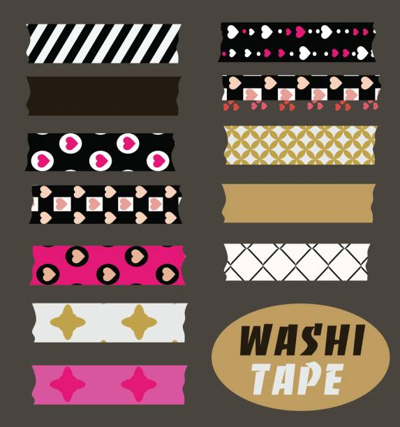 Washi tape set art, card, chevron, clip, cute, digital, dot, embellishment, frame, masking, pattern, patterned, polka, red, scrapbook, semitransparent, strip, tape, transparent, vector masking tape stock illustrations