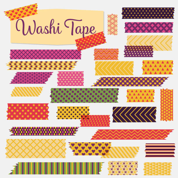 Washi Tapes In A Variety Of patterns And Colours Big set of Washi Tapes in fun colors and patterns. Each one is in it's own group. scrapbook stock illustrations