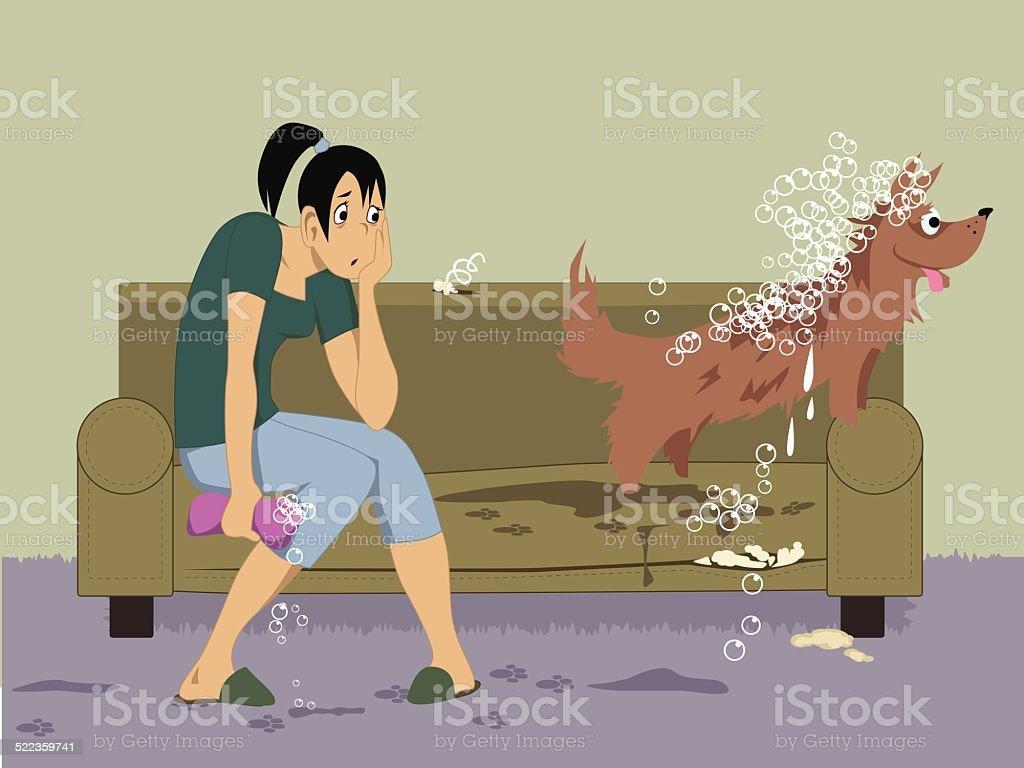 Washing a dog vector art illustration