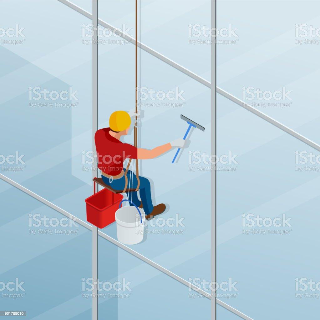 Bezaubernd Fenster Reinigen Ideen Von Waschen Und Das Mit Einem Rakel. Isometrischer