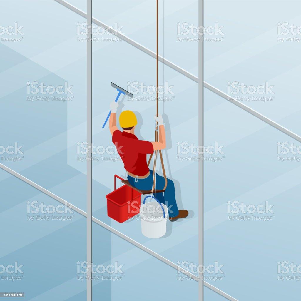 Bemerkenswert Fenster Reinigen Dekoration Von Waschen Und Das Mit Einem Rakel. Isometrischer