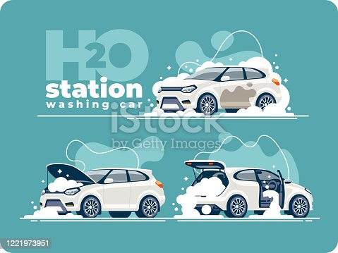 istock Washing Car Station Wash Interior and Engine 1221973951