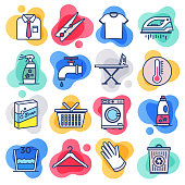 Washing and cleaning products liquid flat line flow style symbols. Flat line design vector icons set for infographics, mobile and web designs.