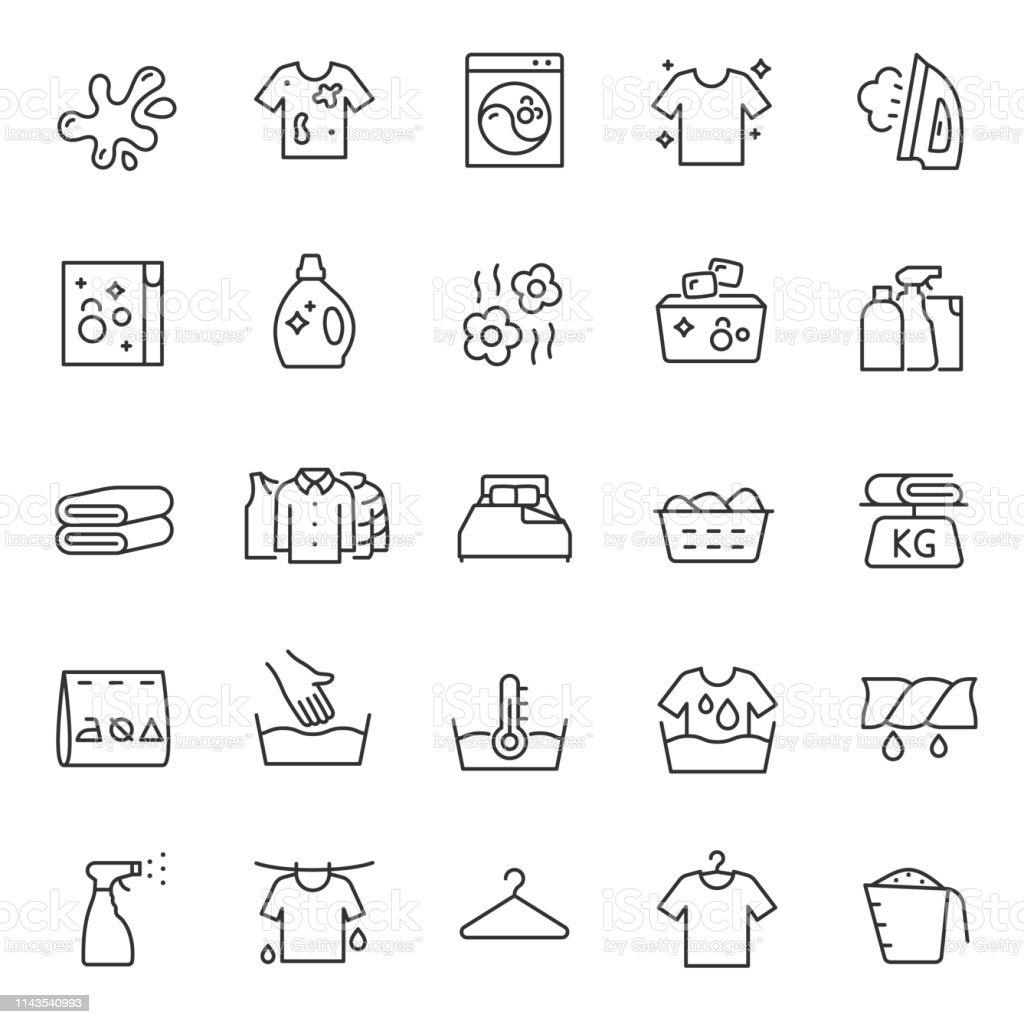 Waschen Sie Kleidung, Wäsche, lineare Icon Set. Hand-und automatische Reinigung. Linie mit bearbeitbarem Schlaganfall - Lizenzfrei Ausgedörrt Vektorgrafik
