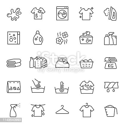 Washing clothes, laundry, icon set. Hand and automatic cleaning, linear icons. Line with editable stroke