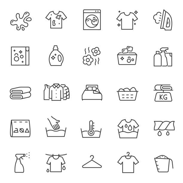 洗衣服, 洗衣, 線性圖示集。手動和自動清潔。具有可編輯筆劃的線條 - 衣服 幅插畫檔、美工圖案、卡通及圖標