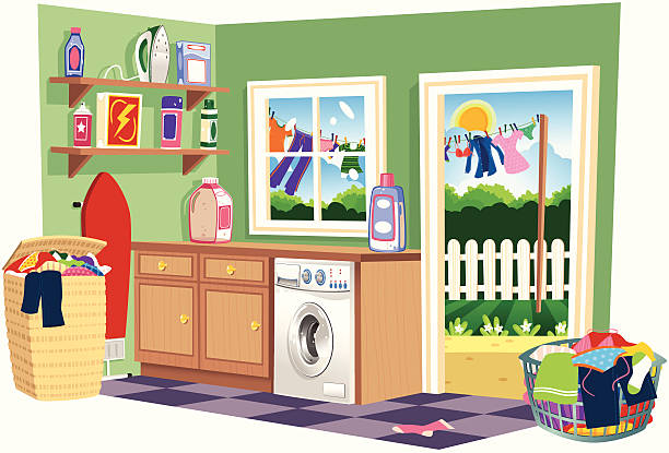 Washing day laundry room Isolated illustration of a typical laundry room on washing day. Included in the scene are; ironing board, iron, laundry baskets, washing machine and outside, a washing line with hanging clothes. laundry basket stock illustrations