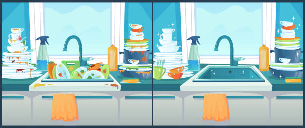 ilustrações de stock, clip art, desenhos animados e ícones de washing dishes in sink. dirty dish in kitchen, clean plates and messy dinnerware cartoon vector illustration - loiça