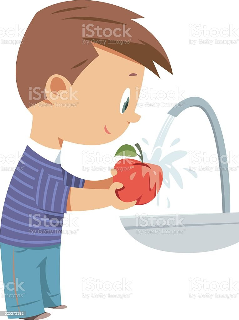 washing fruit, apple vector art illustration