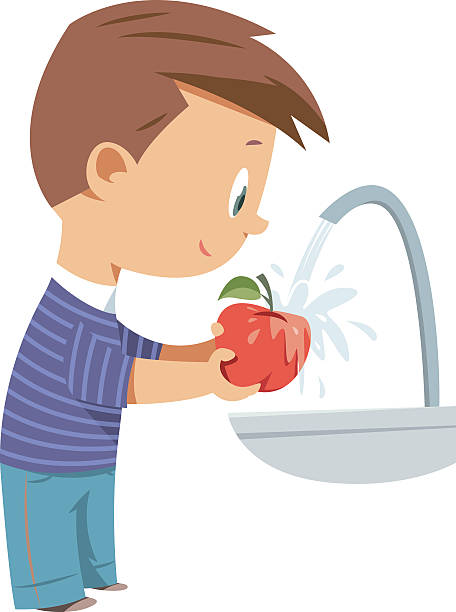 washing fruit, apple - hände wasser waschen stock-grafiken, -clipart, -cartoons und -symbole