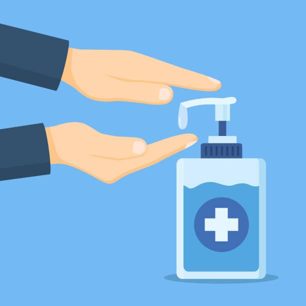 ilustraciones, imágenes clip art, dibujos animados e iconos de stock de lavarse las manos y el jabón. icono del dispensador de saneamiento aislado sobre fondo blanco. - hand sanitizer