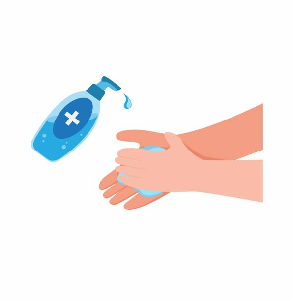 washing hand with Antibacterial hand sanitizer, disinfection gel symbol in cartoon flat illustration vector isolated in white background washing hand with Antibacterial hand sanitizer, disinfection gel symbol in cartoon flat illustration vector isolated in white background rubbing alcohol stock illustrations