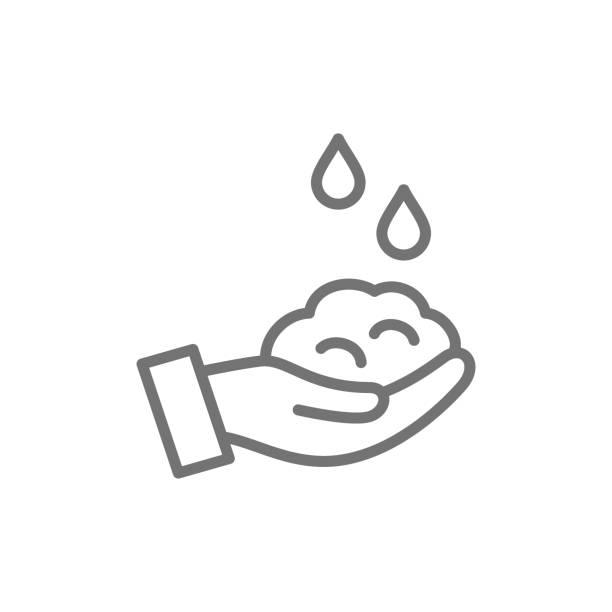 石鹸で手洗い、衛生ラインのアイコン。 - 体 洗う点のイラスト素材/クリップアート素材/マンガ素材/アイコン素材