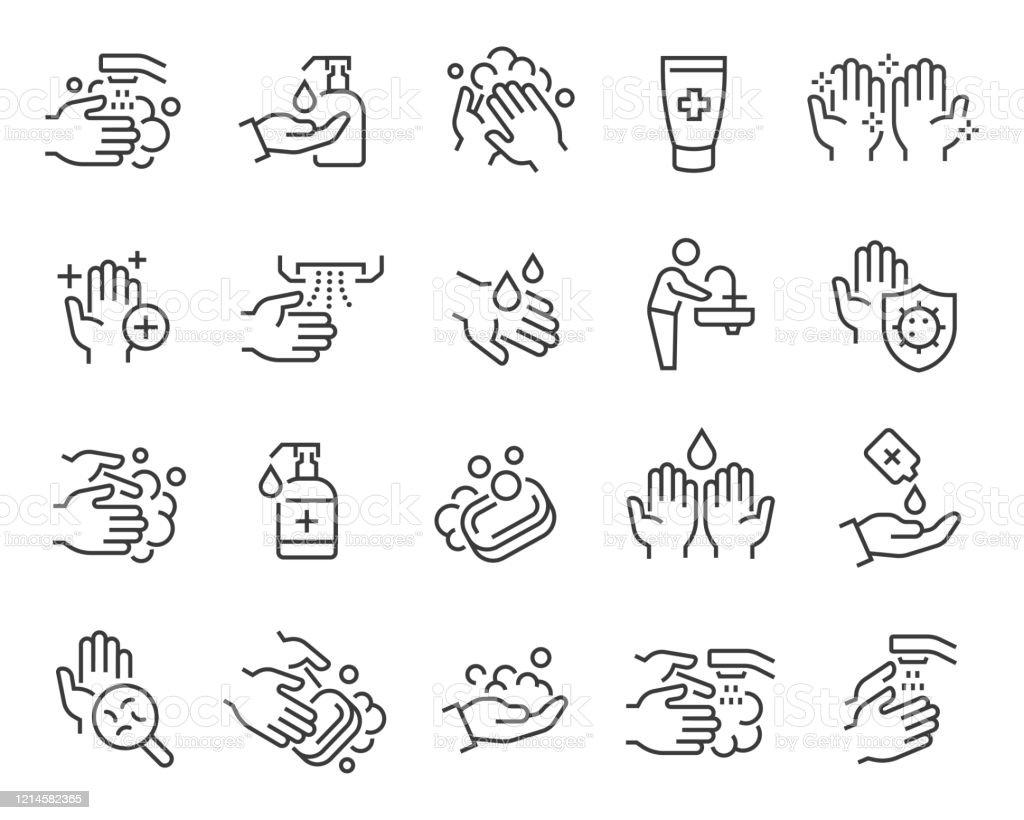 Conjunto de ícones de mãos e higiene. Traçado vetorial editável - Vetor de Antisséptico royalty-free